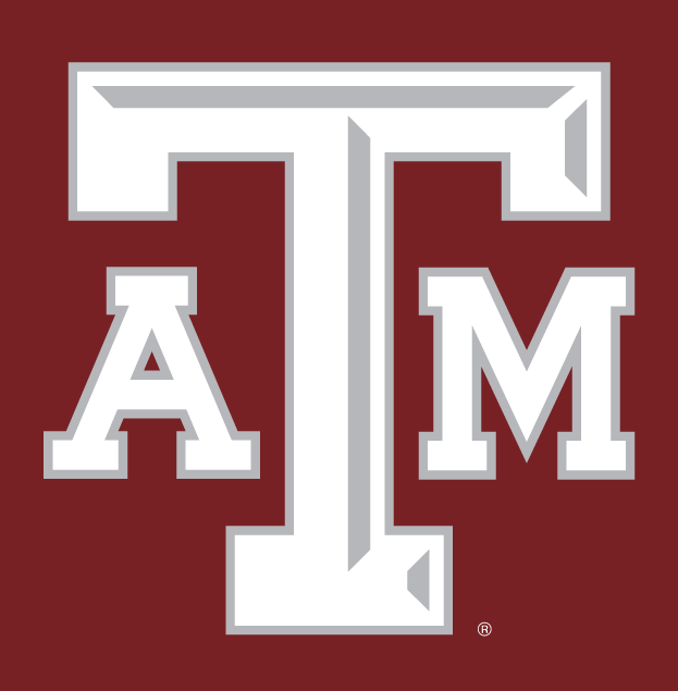 Texas A&M Aggies Logo Alternate Logo (2001-2006) - White ATM letters with silver outline and silver beveling on the T, on maroon background. SportsLogos.Net