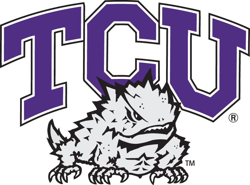 TCU Horned Frogs Logo Primary Logo (1995-Pres) - Horned Frog under purple TCU SportsLogos.Net