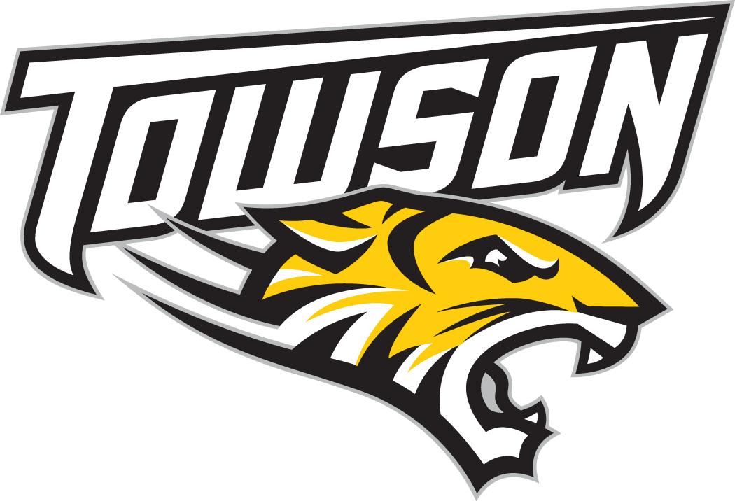 Towson Tigers Logo Primary Logo (2004-Pres) - Tiger's head under white script SportsLogos.Net