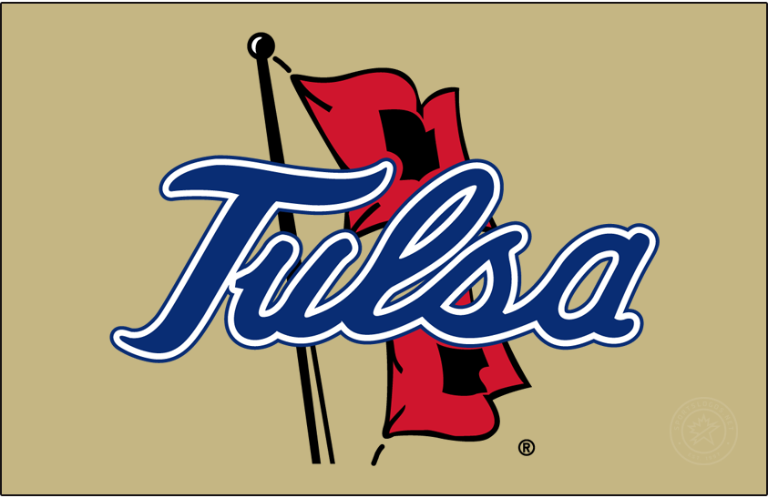 Tulsa Golden Hurricane Logo Primary Dark Logo (2014-2016) - Tulsa script on Hurricane Warning Flags. Shades of blue and red were changed at this time. SportsLogos.Net