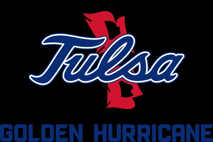 Tulsa Golden Hurricane Logo Secondary Logo (2017-Pres) - Tulsa script on Hurricane Warning Flags above Golden Hurricane SportsLogos.Net