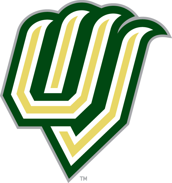 Utah Valley Wolverines Logo Alternate Logo (2008-2011) - The letters U and V in a the shape of claws, with the U and V letters coloured a pale yellow with a white outline followed by a thick dark green outline with silver trim. SportsLogos.Net