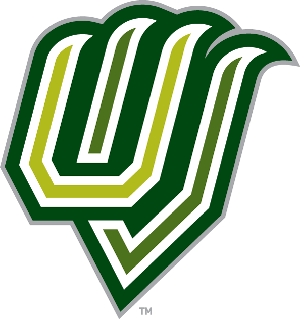 Utah Valley Wolverines Logo Alternate Logo (2008-2011) - The letters U and V in a the shape of claws, with the U coloured light green and the V coloured medium green. The letters are outlined in white followed by a thick dark green outline with silver trim. SportsLogos.Net