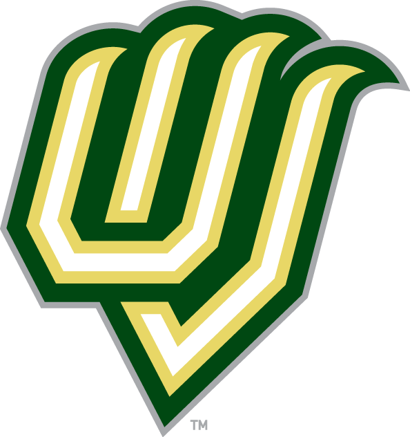 Utah Valley  Wolverines Logo Alternate Logo (2008-Pres) - The letters U and V in a the shape of claws, with the U and V letters coloured white with a pale yellow outline followed by a thick dark green outline with silver trim. SportsLogos.Net