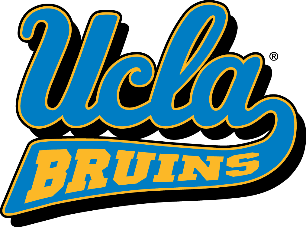 UCLA Bruins Logo Primary Logo (1996-Pres) - UCLA scripted in blue with Bruins on underscore in yellow SportsLogos.Net