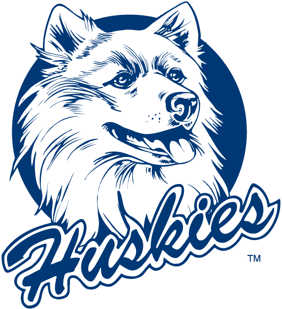 UConn Huskies Logo Primary Logo (1982-1995) - Huskie with script underneath.  SportsLogos.Net
