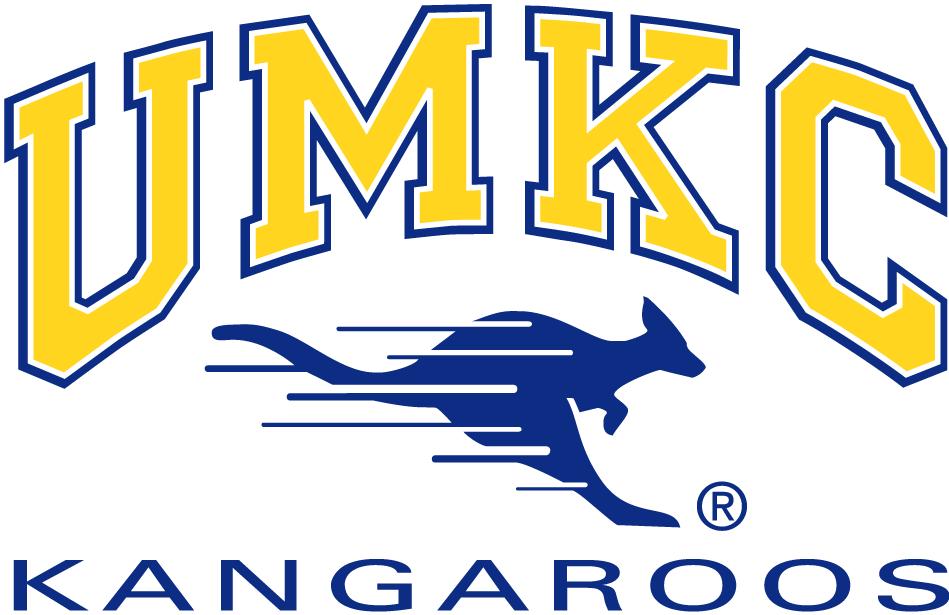 UMKC Kangaroos Logo Primary Logo (1987-2004) - Streaking blue Kangaroo in middle of script SportsLogos.Net