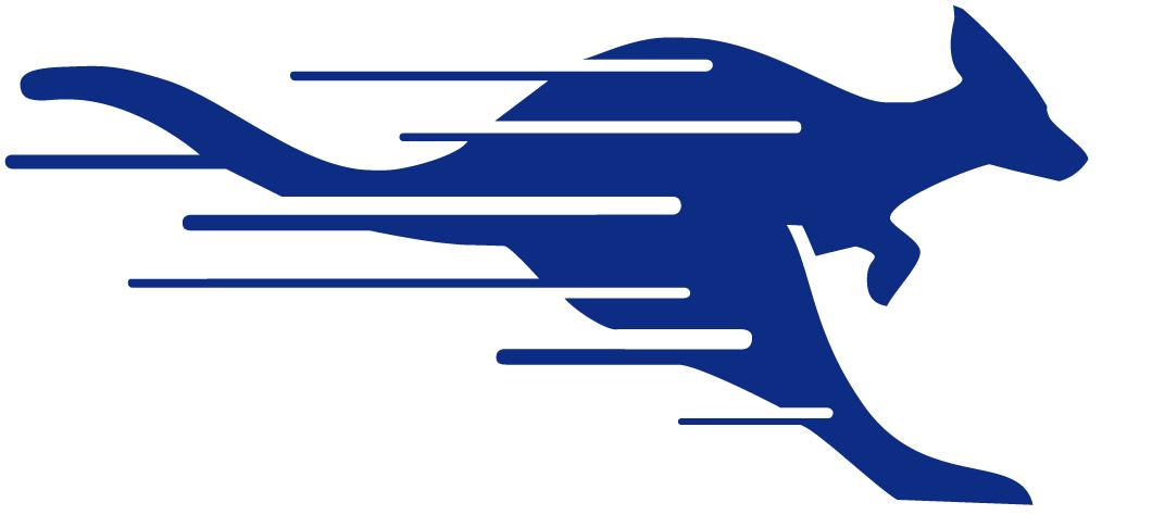 UMKC Kangaroos Logo Partial Logo (1987-2004) - Streaking blue Kangaroo SportsLogos.Net