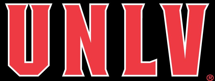 UNLV Rebels Logo Wordmark Logo (1995-2005) - UNLV in red with black and white outlines SportsLogos.Net