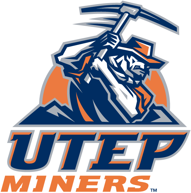 UTEP Miners Logo Primary Logo (1999-Pres) - Miner working with pic axe on orange sun over script SportsLogos.Net