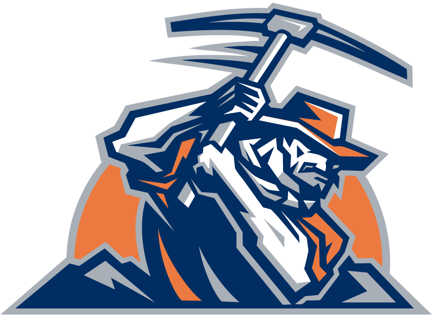 UTEP Miners Logo Alternate Logo (1999-Pres) - Miner working with pic axe on orange sun SportsLogos.Net