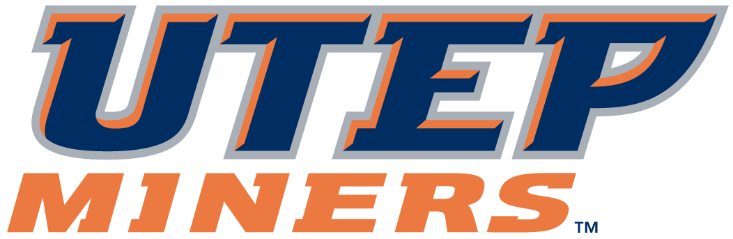 UTEP Miners Logo Wordmark Logo (1999-Pres) - UTEP in blue with orange and silver outline Miners in orange SportsLogos.Net