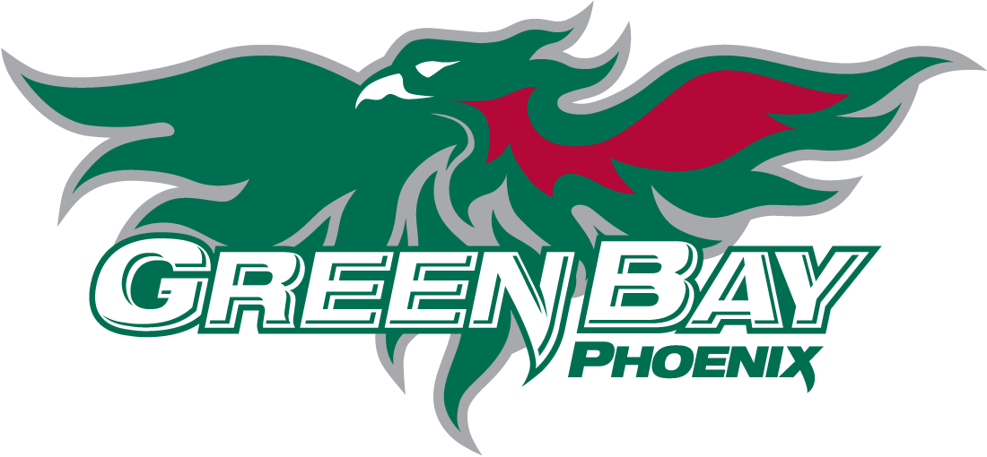 Wisconsin-Green Bay Phoenix Logo Primary Logo (2007-Pres) - Green Phoenix with flame over script SportsLogos.Net