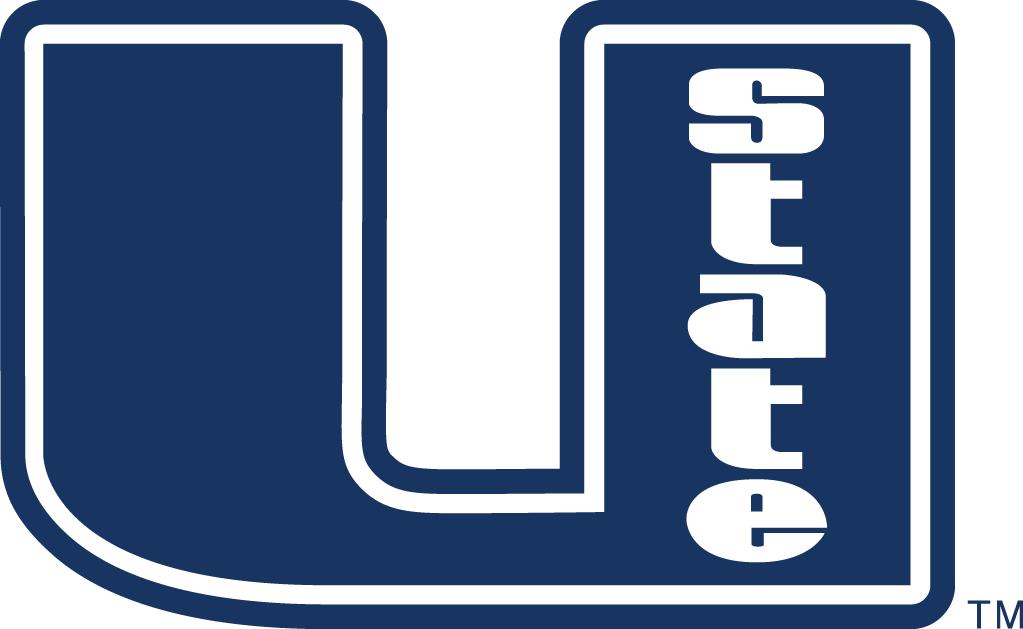 Utah State Aggies Logo Primary Logo (2001-2011) - White U with state written in blue SportsLogos.Net