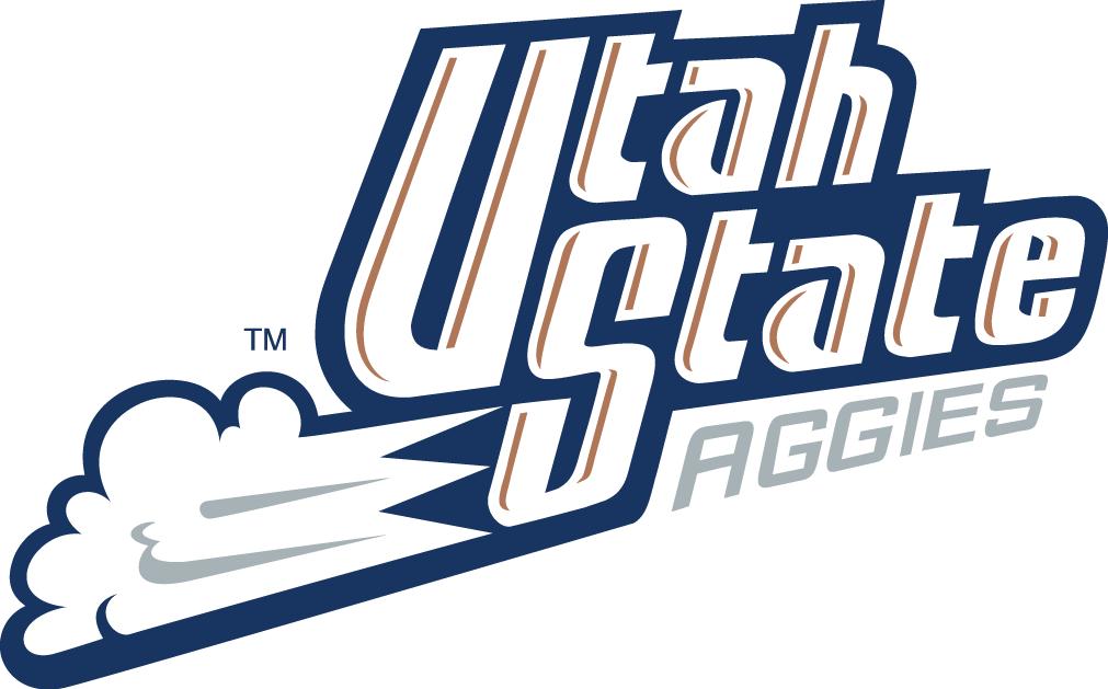 Utah State Aggies Logo Wordmark Logo (1996-2011) - Utah State streaking  with cloud behind it SportsLogos.Net
