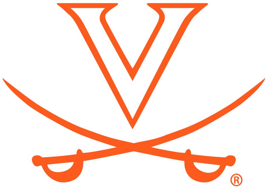 Virginia Cavaliers Logo Primary Logo (1994-2019) - V over crossed orange swords SportsLogos.Net