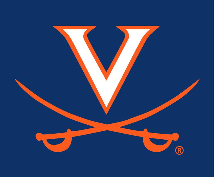 Virginia Cavaliers Logo Alternate Logo (1994-2019) - V over crossed orange swords on blue SportsLogos.Net