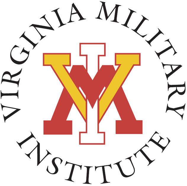 VMI Keydets Logo Primary Logo (1985-Pres) - Yellow Red and White interlocked VMI with script, with the school name in a circle. SportsLogos.Net
