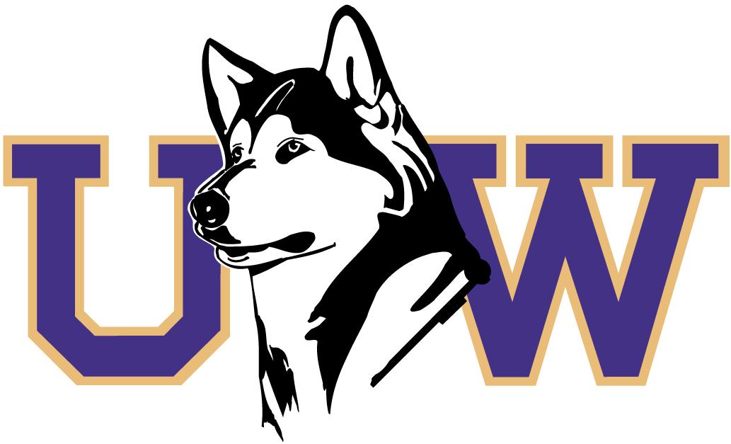 Washington Huskies Logo Secondary Logo (1995-2000) - Huskey's head between purple UW SportsLogos.Net