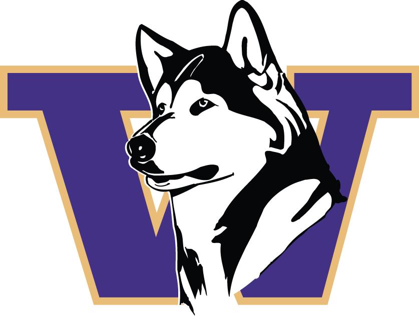 Washington Huskies Logo Primary Logo (1995-2000) - Huskey's head between purple W SportsLogos.Net