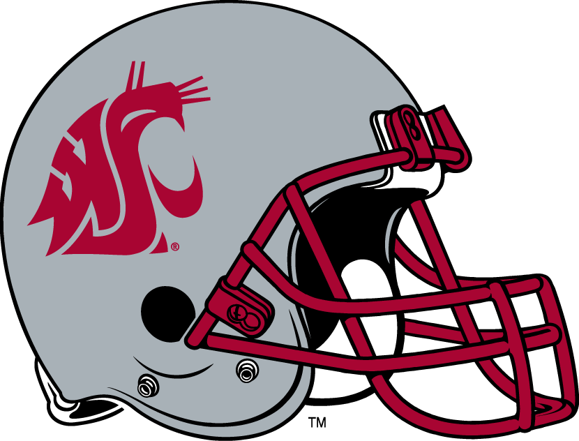 Washington State Cougars Helmet Helmet (1999-Pres) - Silver helmet with crimson facemask SportsLogos.Net