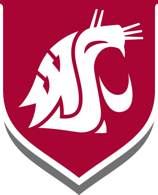 Washington State Cougars Logo Alternate Logo (1995-Pres) - White WSU Cougar head on a red shield SportsLogos.Net