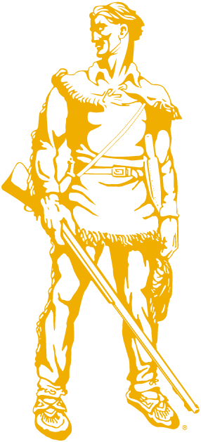 West Virginia Mountaineers Logo Mascot Logo (2000-2001) - WVU mascot - The Mountaineer in gold SportsLogos.Net