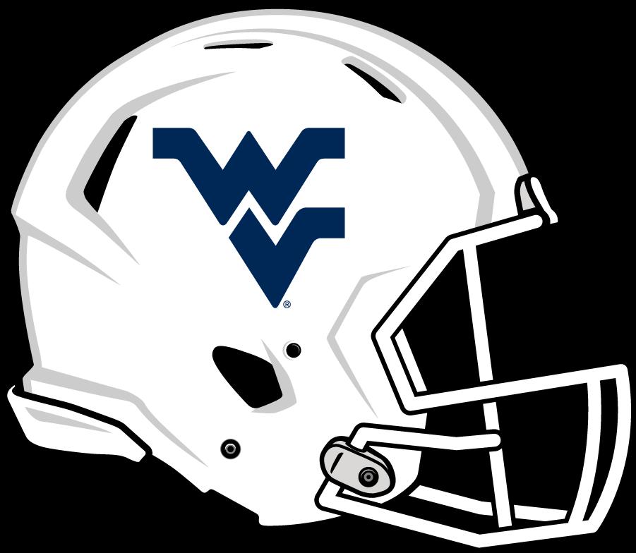 West Virginia Mountaineers Helmet Helmet (2014-Pres) - Updated helmet with white shell and blue Flying WV. SportsLogos.Net