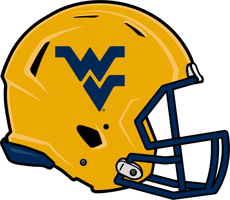 West Virginia Mountaineers Helmet Helmet (2014-Pres) - Updated helmet with gold shell and blue Flying WV. SportsLogos.Net