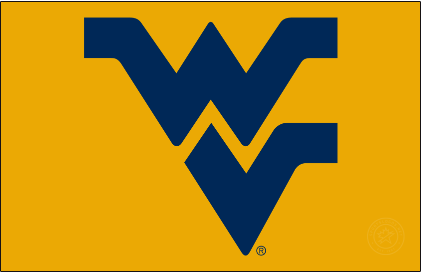 West Virginia Mountaineers Logo Primary Dark Logo (2016-Pres) - Flying WV. Preferred version without outline on gold background. SportsLogos.Net