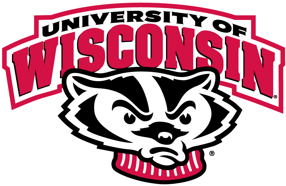 Wisconsin Badgers Logo Secondary Logo (2002-Pres) - Badger's head under script SportsLogos.Net