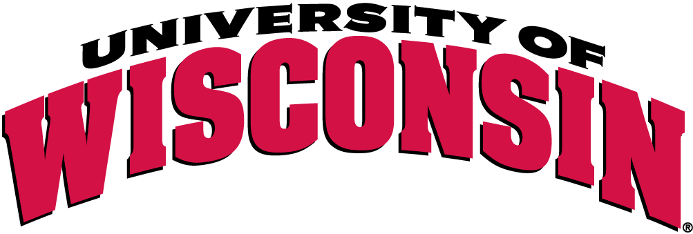 Wisconsin Badgers Logo Wordmark Logo (2003-2017) - Wisconsin in red on white banner with red outline SportsLogos.Net