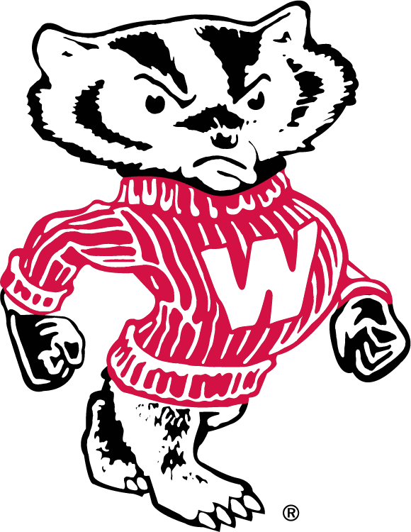 Wisconsin Badgers Logo Secondary Logo (1970-2003) - Walking Badger with red W on chest SportsLogos.Net
