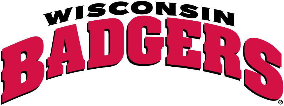 Wisconsin Badgers Logo Wordmark Logo (2003-2017) - Wisconsin in black Badgers in red SportsLogos.Net