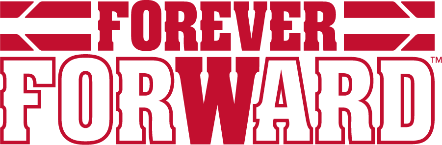 Wisconsin Badgers Logo Misc Logo (2017-Pres) - Stacked Forever Forward theme with team stripes. SportsLogos.Net
