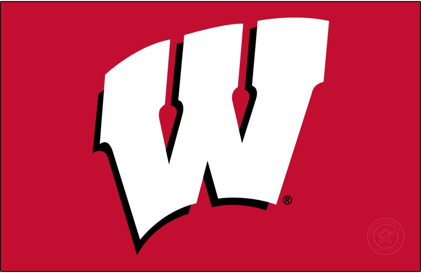 Wisconsin Badgers Logo Primary Dark Logo (1991-2017) - Motion W on red background. SportsLogos.Net