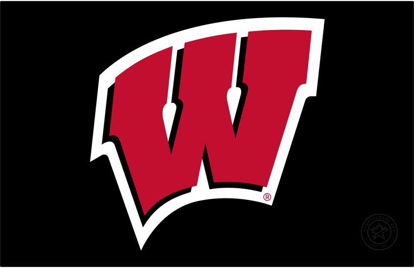 Wisconsin Badgers Logo Primary Dark Logo (2017-Pres) - In partnership with Under Armour, Wisconsin athletics refreshed their athletics identity in July 2017. Colors remained the same but the primary Motion W was modified very minimally. This version of the Motion W with the white outline is for use on neutral colored backgrounds including black and grays. SportsLogos.Net