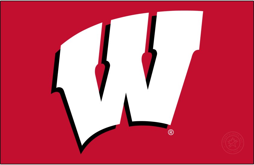 Wisconsin Badgers Logo Primary Dark Logo (2017-Pres) - In partnership with Under Armour, Wisconsin athletics refreshed their athletics identity in July 2017. Colors remained the same but the primary Motion W was modified very minimally. This version of the Motion W is for use on red-only backgrounds. SportsLogos.Net