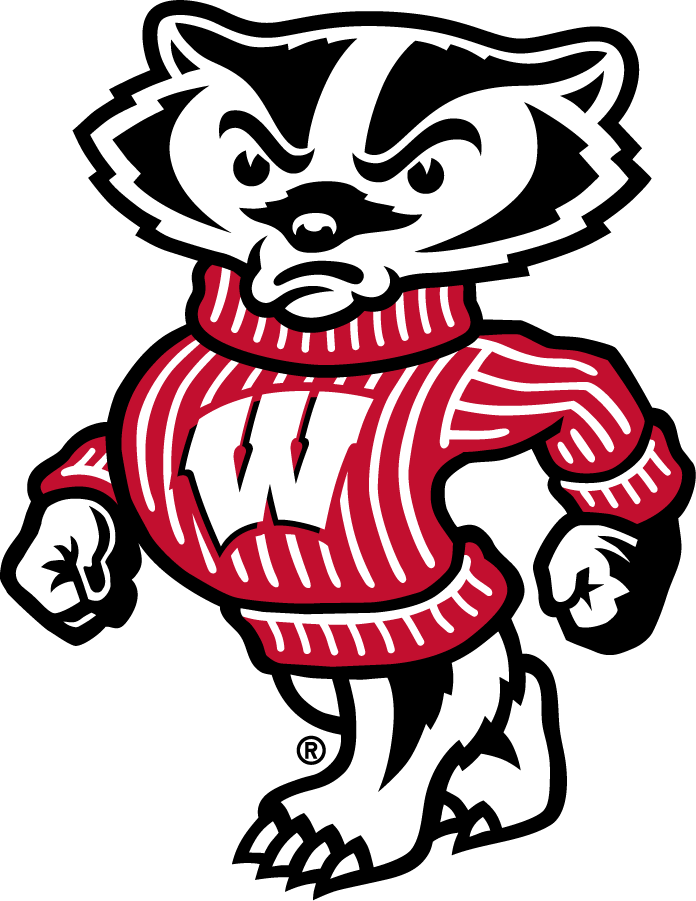 Wisconsin Badgers Logo Secondary Logo (2003-Pres) - Left-Facing strutting Bucky Badger with Motion W logo on chest. SportsLogos.Net