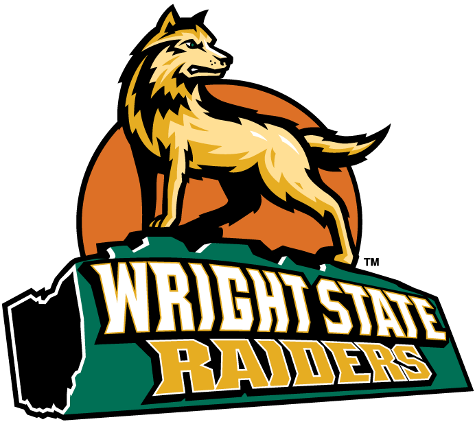 Wright State Raiders Logo Alternate Logo (2001-Pres) - Dog standing on a green log that has script on it with Ohio at the end with SportsLogos.Net