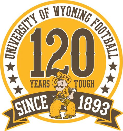Wyoming Cowboys Logo Anniversary Logo (2013) - 120 Years of University of Wyoming Football logo SportsLogos.Net