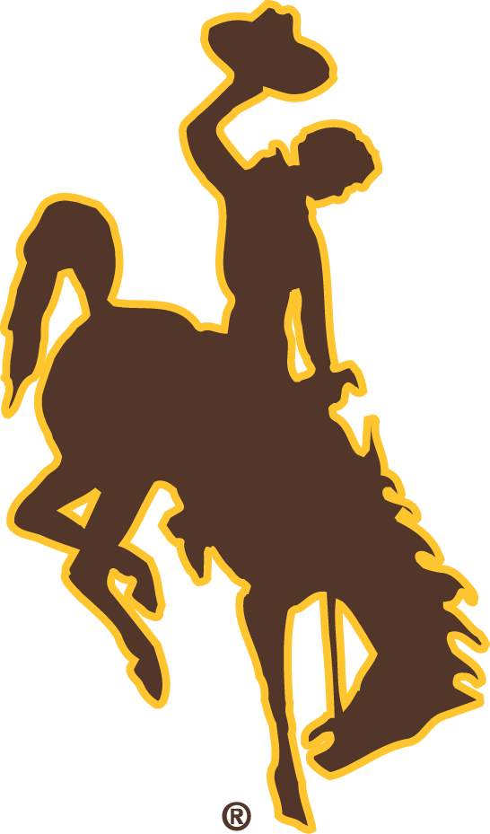 Wyoming Cowboys Logo Primary Logo (2006-Pres) - Silouetted Cowboy bucking on bronco in brown SportsLogos.Net