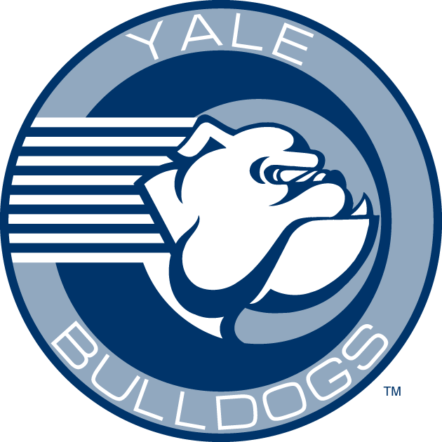 Yale Bulldogs Logo Primary Logo (1995-1997) - In September 1995, Yale unveiled their new athletics logo. Features a sideview of a bulldog on horizontal stripes in royal blue and a softer shade. Designed by Jeffrey Russo who worked for Starter Corp., the New Haven, Conn., company charged with creating the logo. As a primary, it was replaced by the Y Bulldog logo that was also designed in 1995. SportsLogos.Net