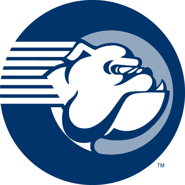 Yale Bulldogs Logo Secondary Logo (1995-1997) - Bulldogs head in a circle on horizontal stripes. Designed in 1995, phased out in 1997 or so. SportsLogos.Net