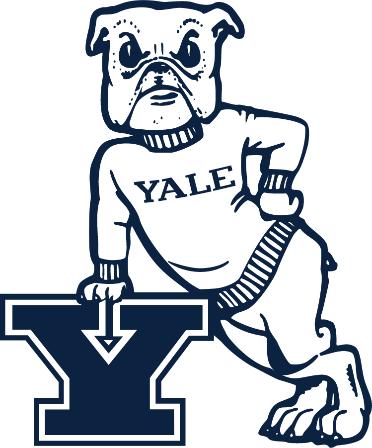 Yale Bulldogs Logo Secondary Logo (2019-Pres) - Bulldog in sweater leaning on different-Block Y. Made its return of several years of unuse. SportsLogos.Net