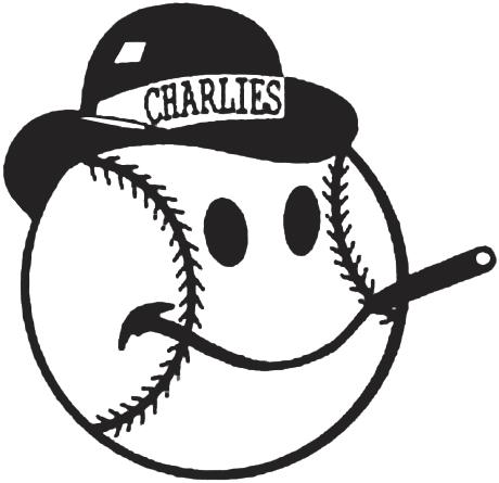 Charleston Charlies Logo Primary Logo (1971-1983) - A baseball wearing a derby, smiling while smoking a cigar SportsLogos.Net