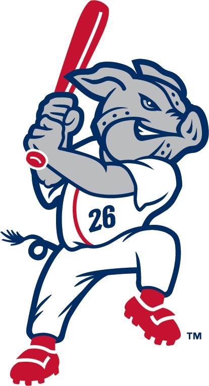 Lehigh Valley IronPigs Logo Alternate Logo (2008-Pres) - Silver pig in full uniform swinging a bat SportsLogos.Net