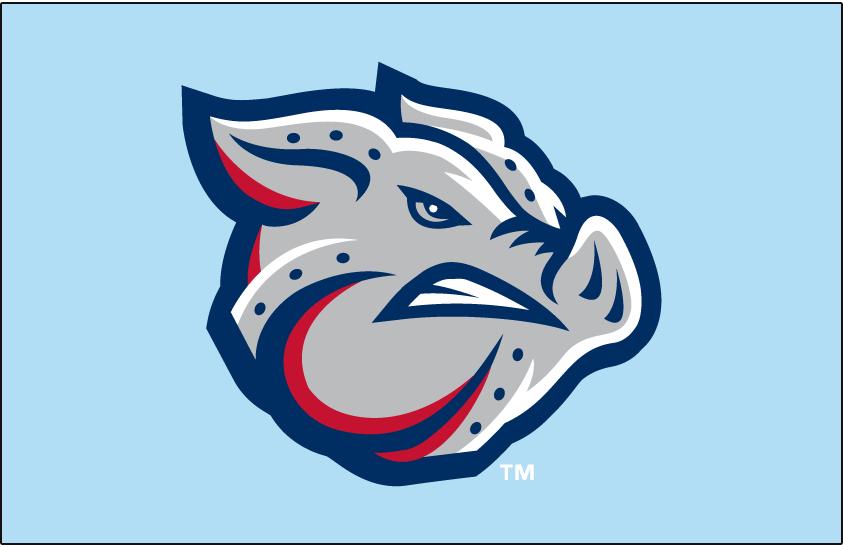 Lehigh Valley IronPigs Logo Jersey Logo (2014-Pres) - IronPigs primary logo on a powder blue jersey. Worn on the IronPigs Sunday home alternate jerseys beginning in 2014. SportsLogos.Net