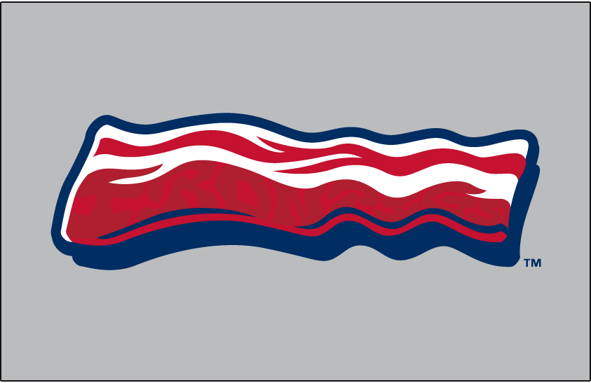 Lehigh Valley IronPigs Logo Cap Logo (2014-Pres) - A strip of bacon in red and white, outlined in blue on a grey field,