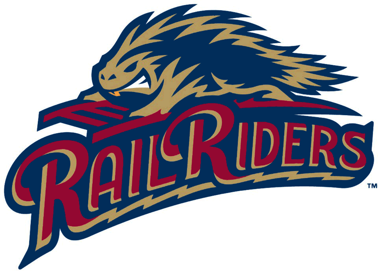 Scranton/Wilkes-Barre RailRiders Logo Primary Logo (2013-Pres) - A porcupine riding the rails above the team script SportsLogos.Net